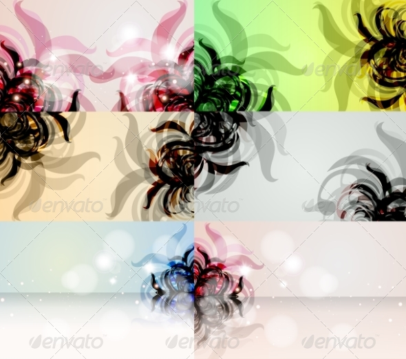 GraphicRiver Set of Floral Vector Background 7743000