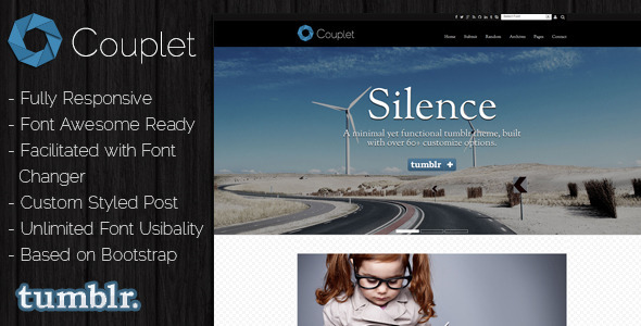 ThemeForest Couplet Tumblr Theme 7743056