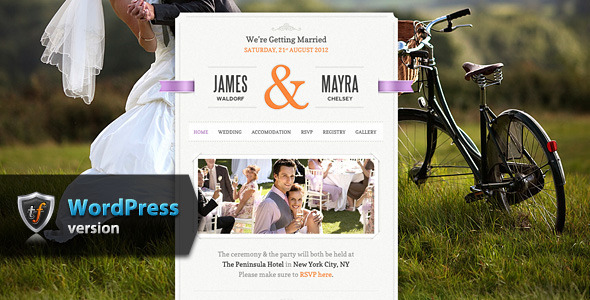 A stunning, friendly and easy to use wedding WordPress theme for any lovebirds that are planning to get married. Crafted with pixel perfect details, this weddin