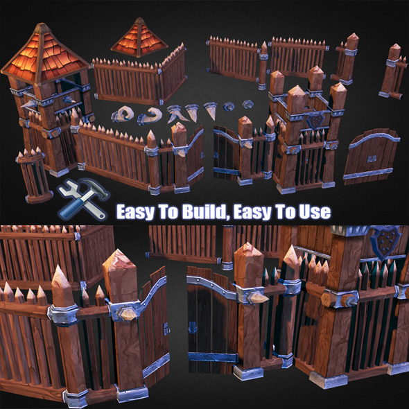 3DOcean Wooden Fortress Pack 7743861