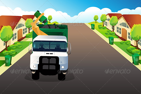 GraphicRiver Garbage Truck Picking up Trash 7744123