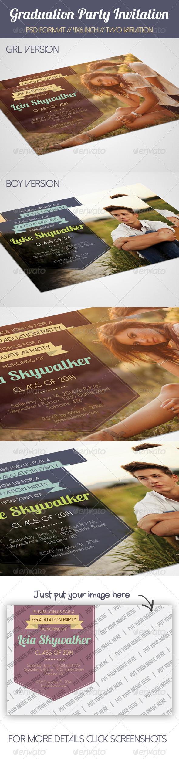 GraphicRiver Simple Graduation Party Invitation 7744241