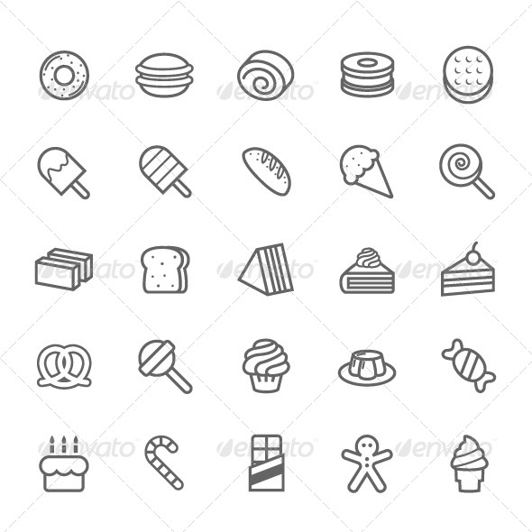 GraphicRiver 25 Outline Stroke Dessert and Sweet Icons 7744256