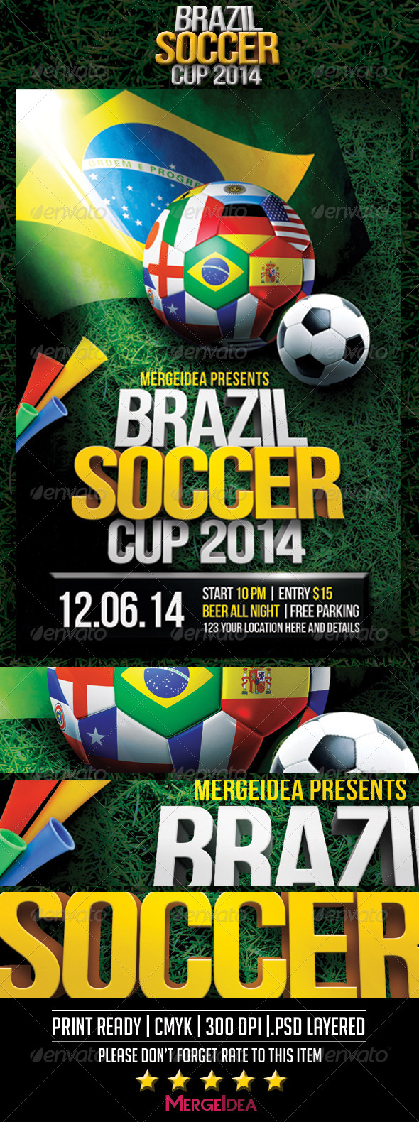 GraphicRiver Brazil Soccer World Cup Flyer 7722045