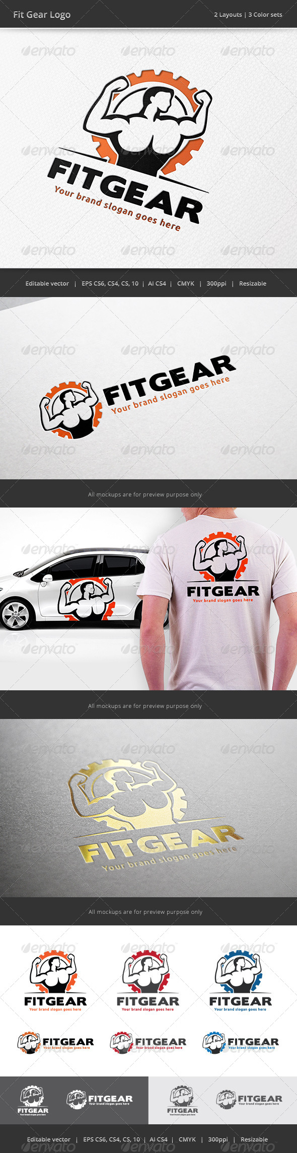 GraphicRiver Fit Gear Gym Logo 7744813