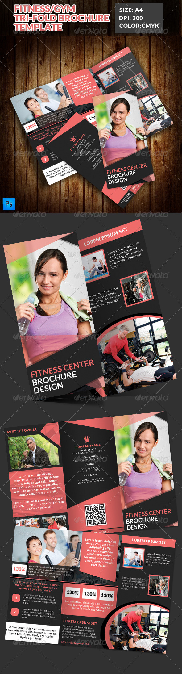 Fitness Gym Tri-Fold Brochures Template