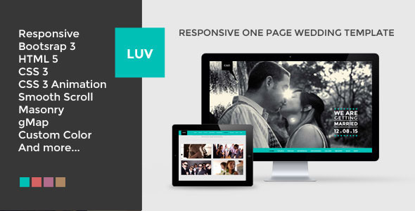 ThemeForest LUV Responsive One Page HTML Wedding Template 7656134