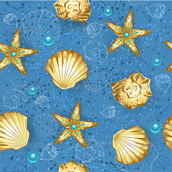 GraphicRiver Seamless Blue Pattern of Gold Seashells 7745679