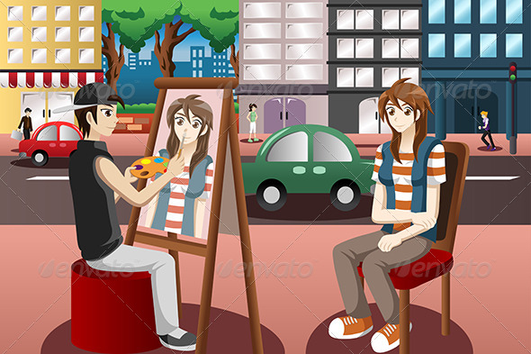 GraphicRiver Street Painter Drawing People Face 7745760