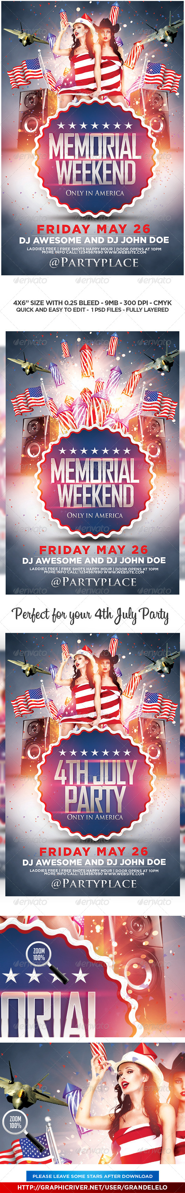 GraphicRiver Memorial Day Weekend and 4th July Flyer 7745791