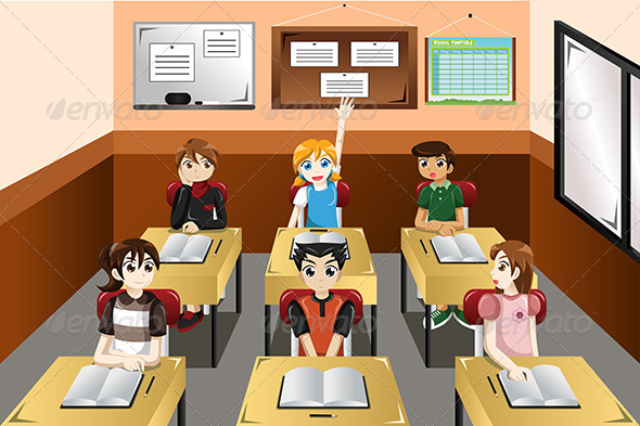 GraphicRiver Kids in Classroom 7745790