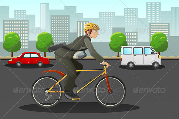 GraphicRiver Businessman Biking in the City 7745933