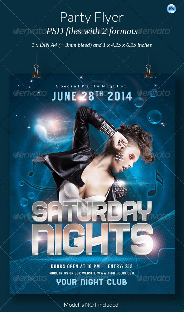 GraphicRiver Saturday Nights Party Flyer 7746595