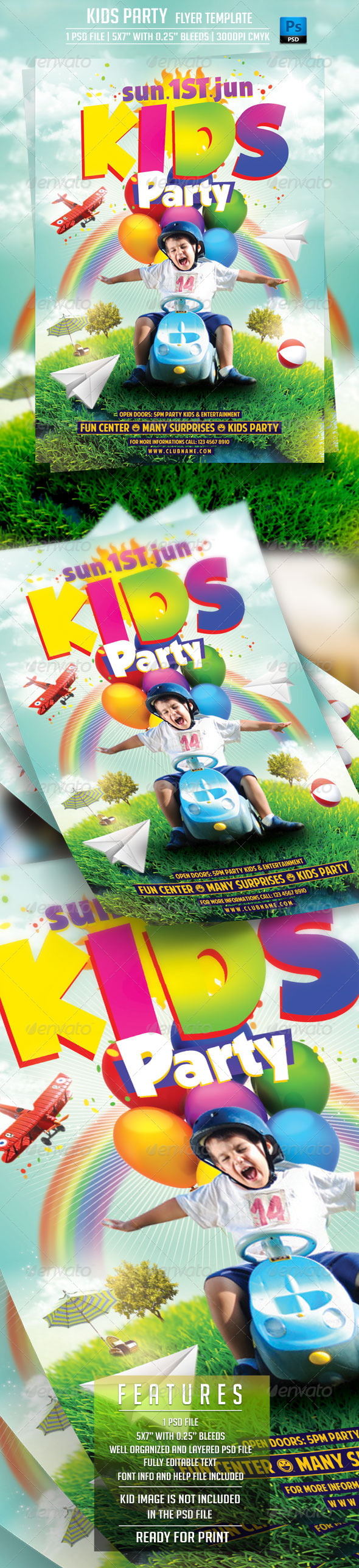 GraphicRiver Kids Party Flyer Template 7747231