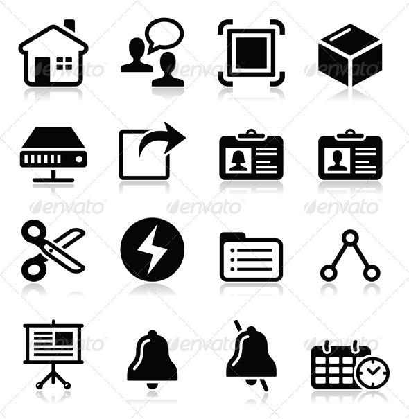 GraphicRiver Web Internet Vector Black Icons Set 7747241