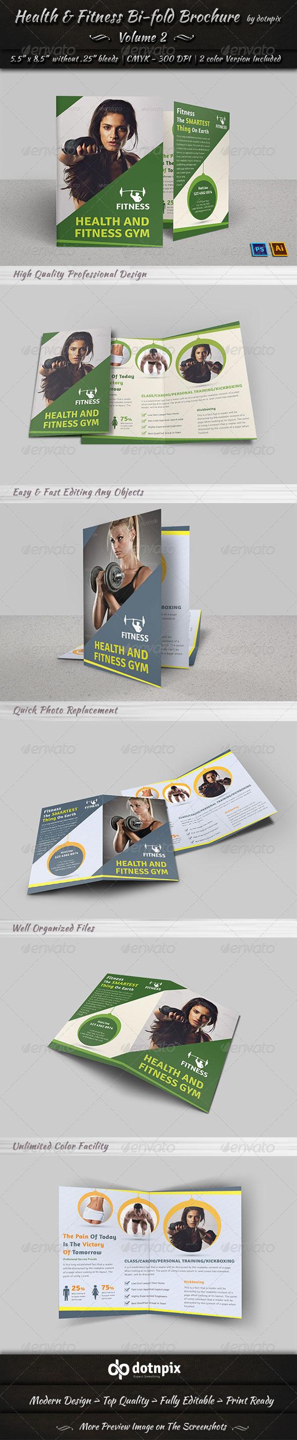 GraphicRiver Health & Fitness Bi-Fold Brochure Volume 2 7747248