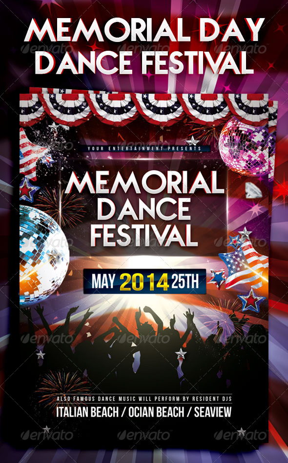 GraphicRiver Memorial Day Dance Festival Flyer 7747290
