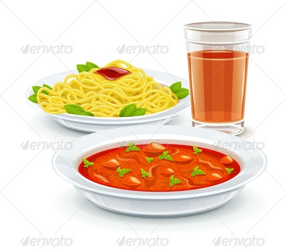 GraphicRiver Set Meal Menu with Soup Pasta and Juice Drink 7747332