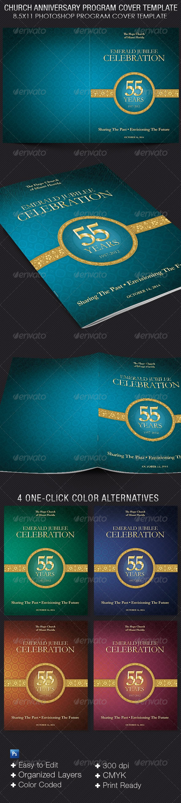 Church Anniversary Program Cover Template  - Informational Brochures