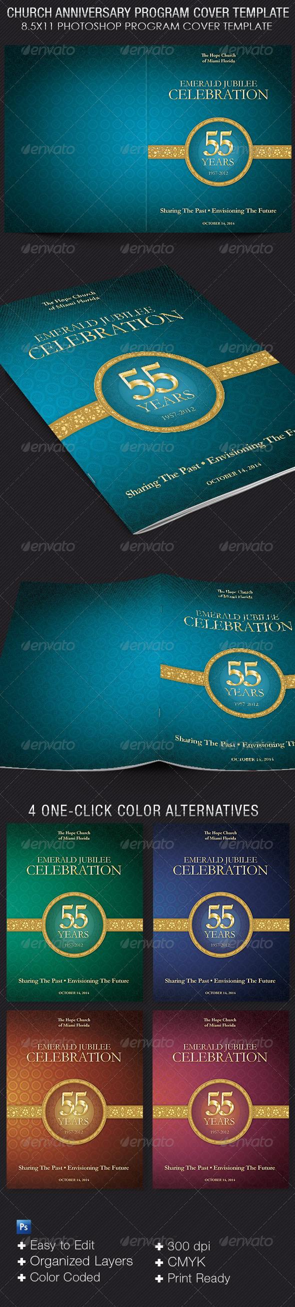 Church Anniversary Program Cover Template Graphicmule