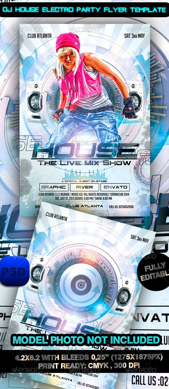 GraphicRiver Dj House Electro Party Flyer Template 7747900