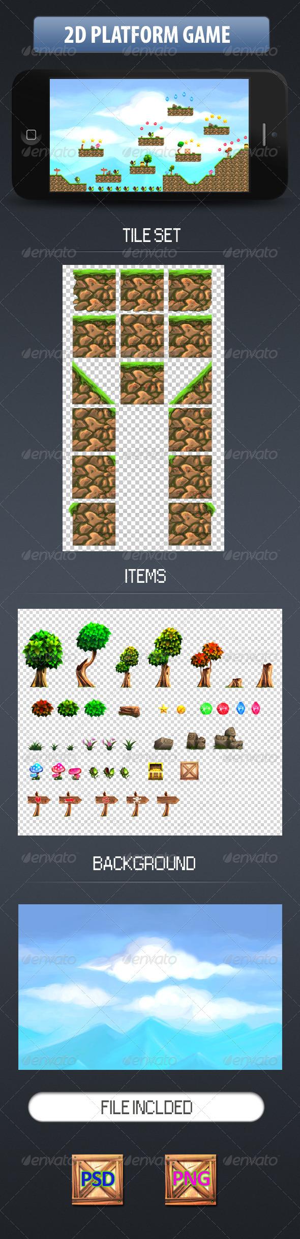 GraphicRiver 2D Tileset Platform Game 7748001