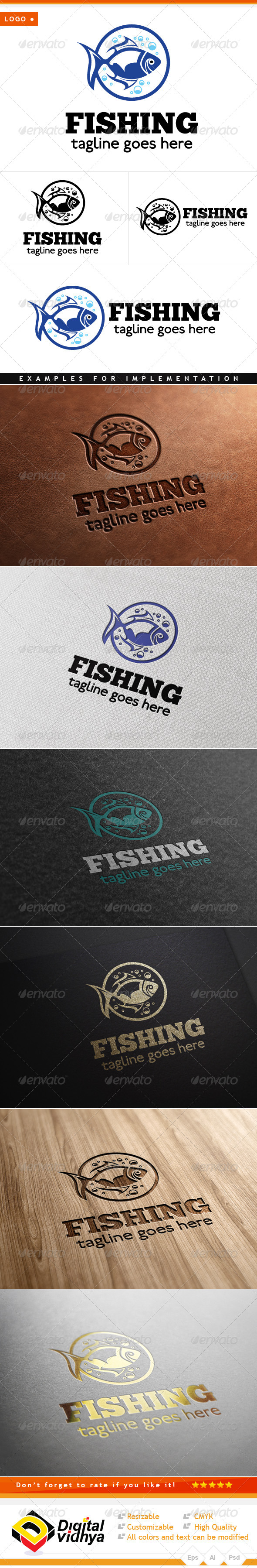 Water Fish Vector Logo - Animals Logo Templates