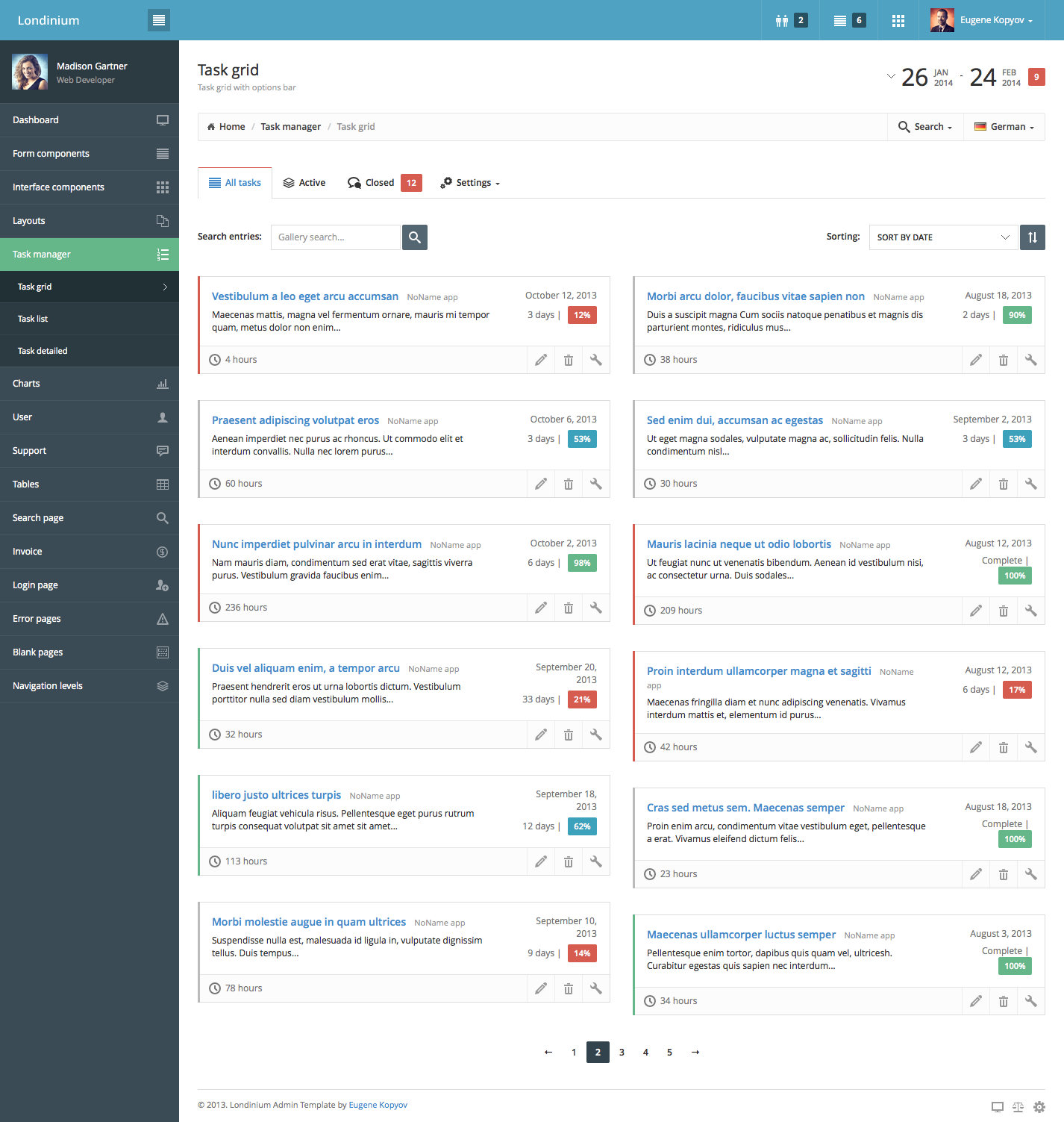 Londinium Responsive Bootstrap 3 Admin Template By