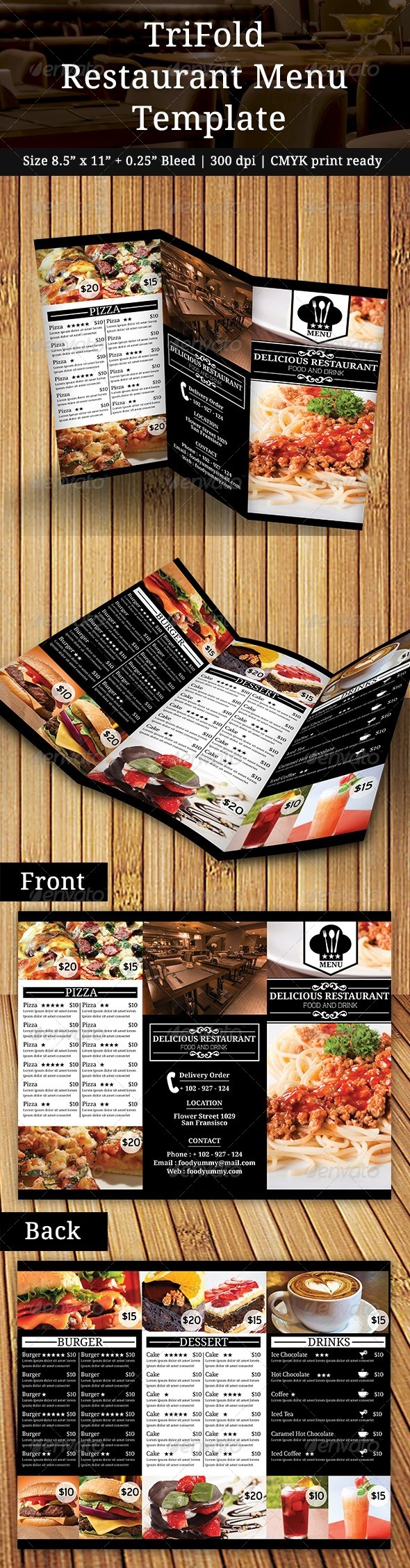GraphicRiver TriFold Restaurant Menu 7748715
