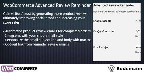 CodeCanyon WooCommerce Advanced Review Reminder 7701837
