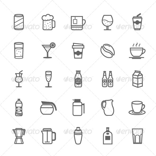 GraphicRiver 25 Outline Stroke Beverage Icons 7748787