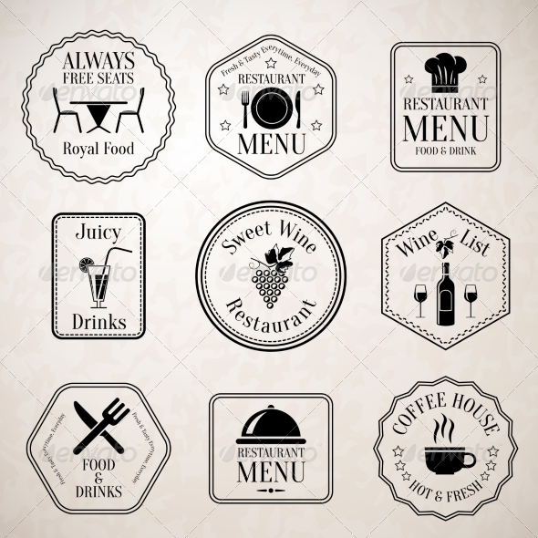 GraphicRiver Restaurant Menu Labels Black 7748879