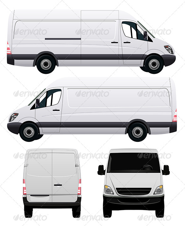 GraphicRiver White Commercial Van 7748903