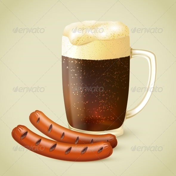 GraphicRiver Dark Beer and Grilled Sausage 7748963