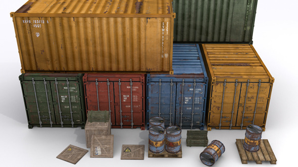 3DOcean Cargo Prop Asset Set for Games 7749075