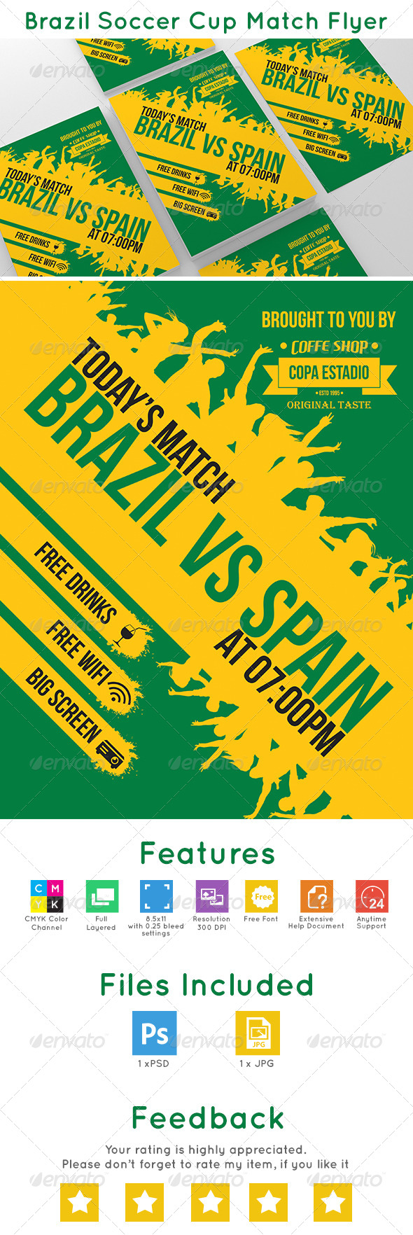 GraphicRiver Brazil Soccer Cup Match Flyer 7727111
