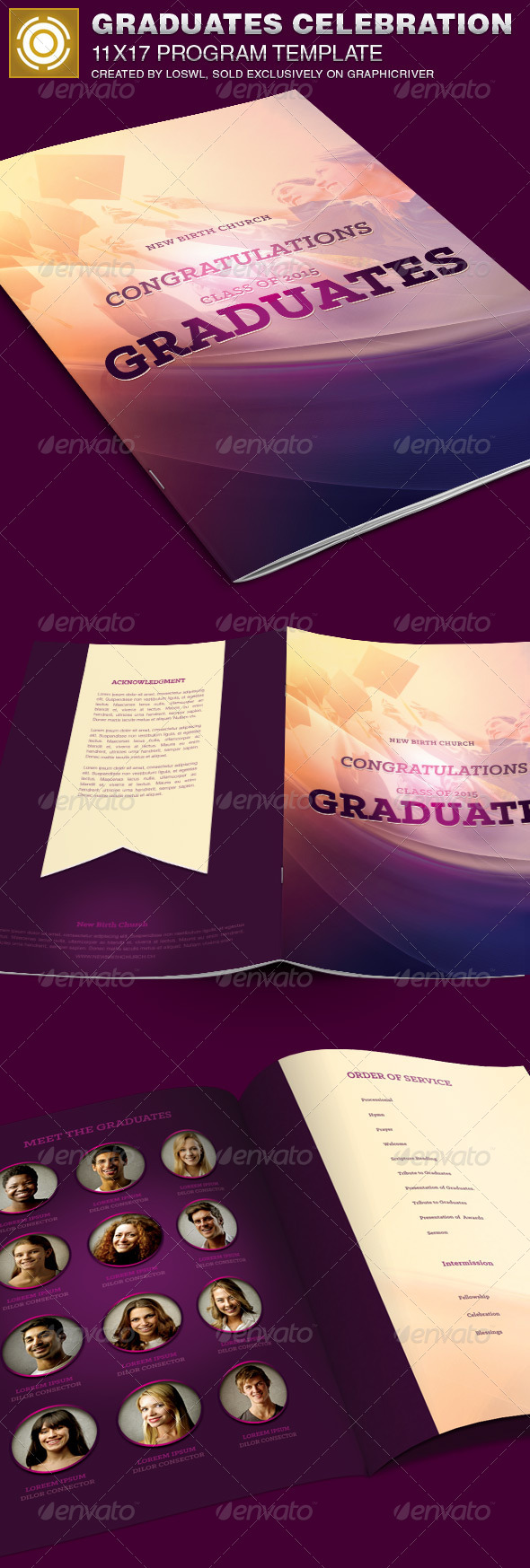GraphicRiver Graduates Celebration Church Program Template 7749928