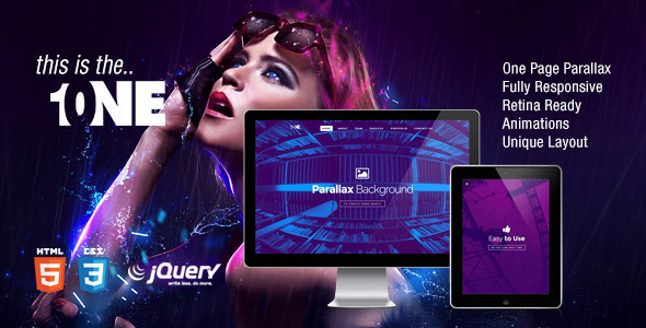 ThemeForest ONE Fully Responsive Parallax HTML5 Template 7750269