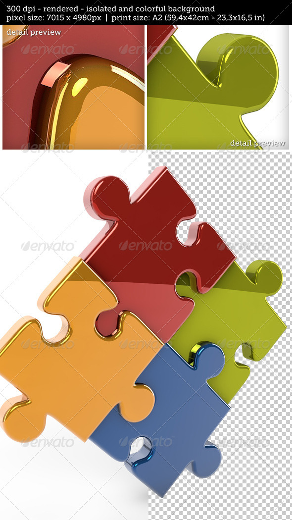 GraphicRiver 3D Reflective Puzzle Game Pieces 7750306