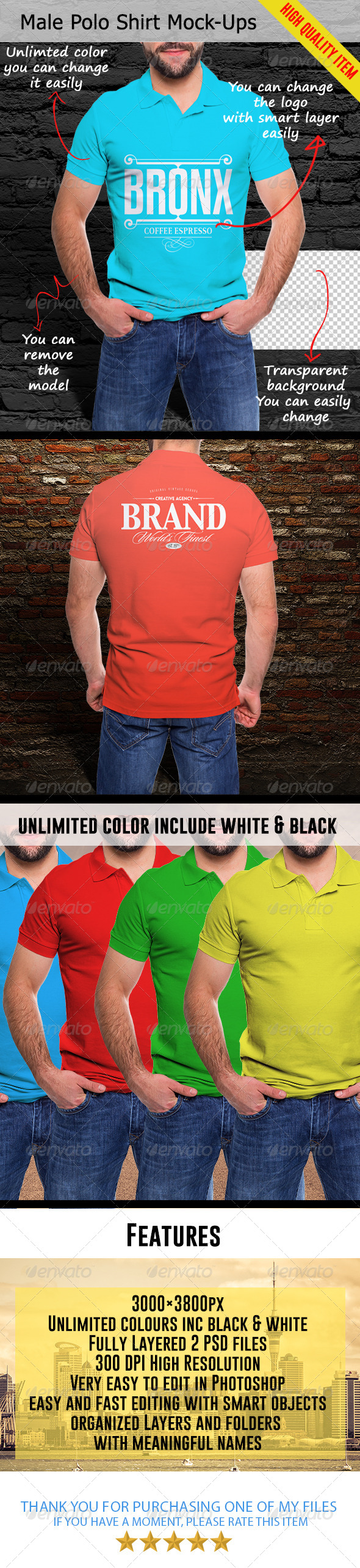 GraphicRiver Male Polo Shirt Mock-Ups 7750662