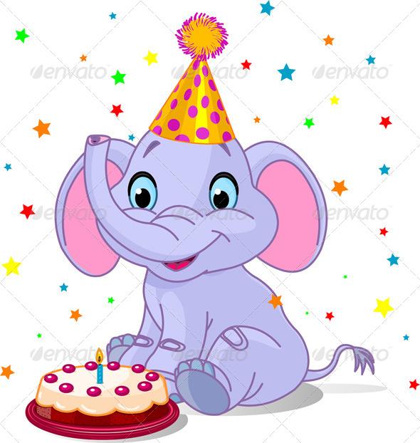 GraphicRiver Baby Elephant Birthday 7751448