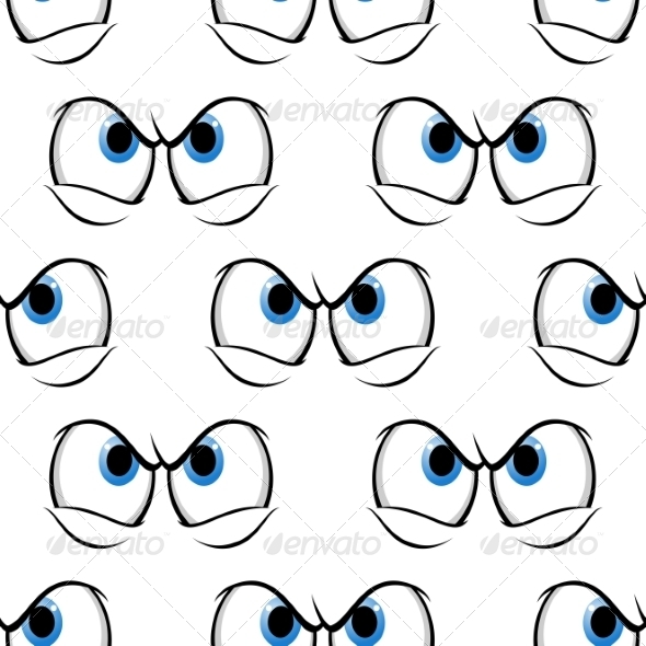 GraphicRiver Seamless Pattern of Cross Angry Eyes 7751646
