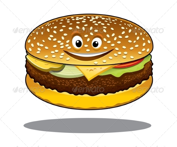 GraphicRiver Cheeseburger Cartoon 7751652