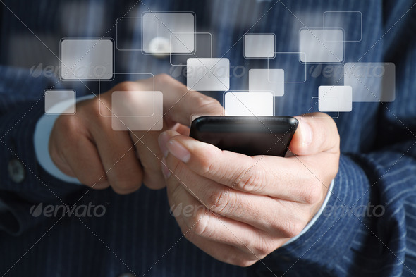 close up of business hand hold Touch screen mobile phone and buttons - Stock Photo - Images