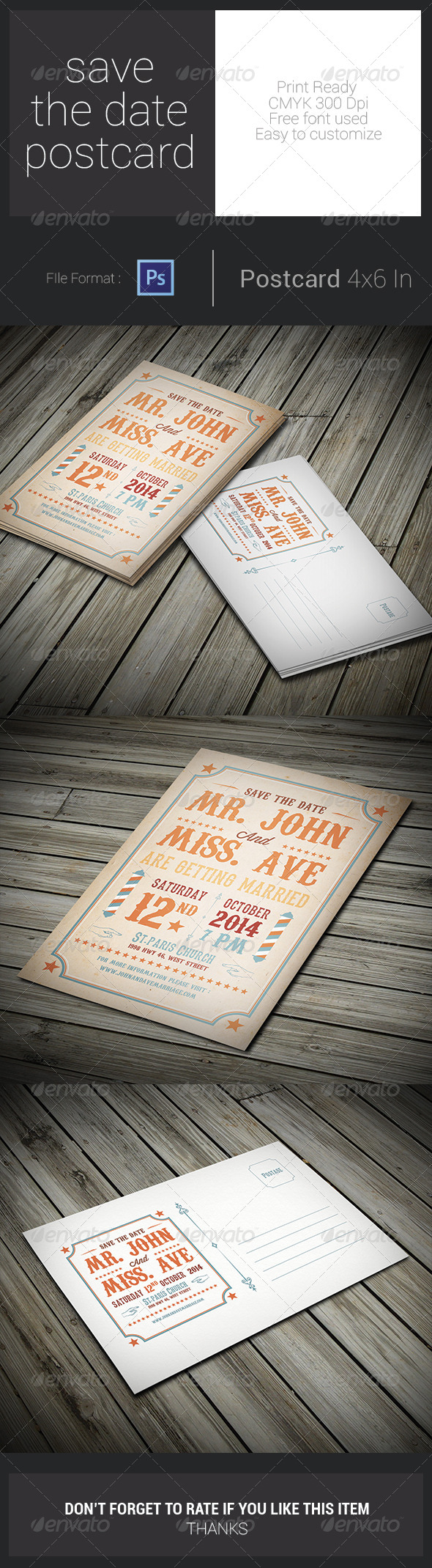 GraphicRiver Save The Date Postcard 7731127