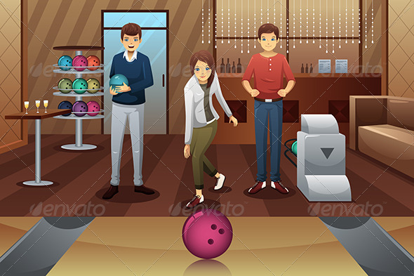 GraphicRiver Young People Bowling 7751817