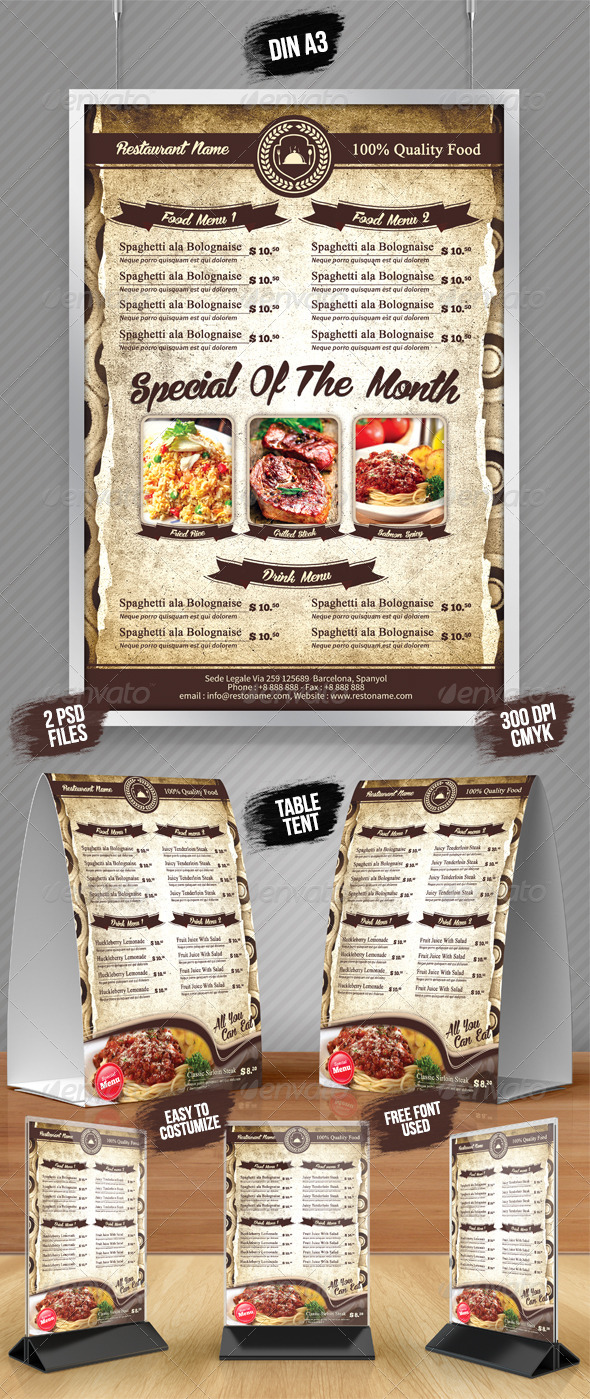 A3 Poster A5 Table Tent Menu