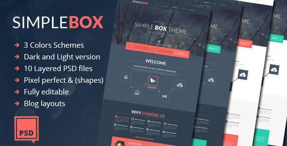 Simple Box - One Page Multi-Purpose Psd Theme