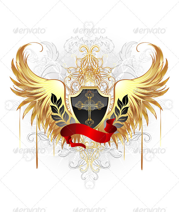 GraphicRiver Black Shield with Golden Wings 7752403