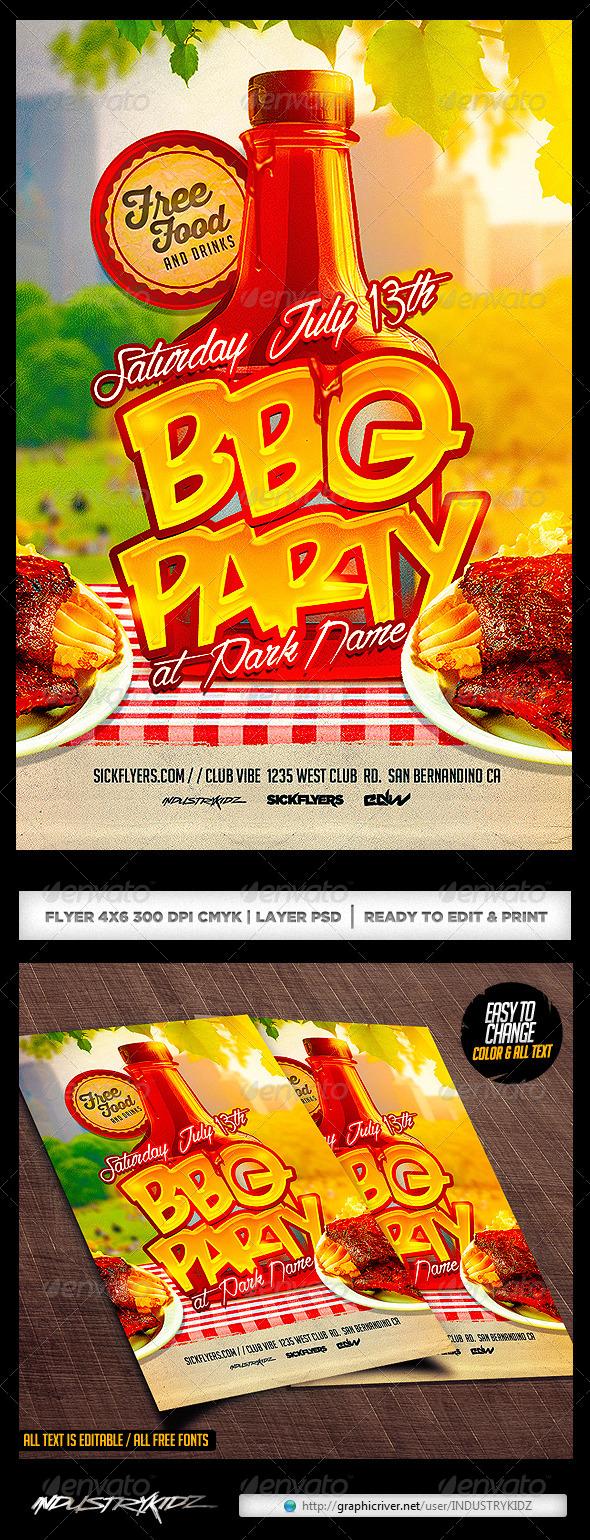 BBQ Party Flyer Template PSD - Clubs & Parties Events